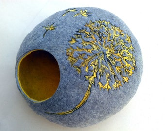 Cat bed/cat cave/cat house/Gray with yellow/  felted cat cave with dandelion dekor/Exclusive cat house