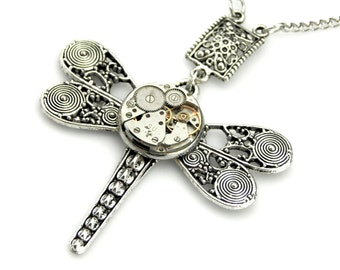 Dragonfly Pendant with connector  -  Clockwork Dragonfly Pendant - Vintage Watch Steampunk Insect Pendant