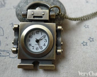 1 PC Antique Bronze Fixed Arm Robot Pocket Watch 47mm A6194