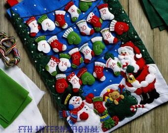 Bucilla Mittens & Stockings Advent Calendar ~ Felt Christmas Kit #86735, Santa DIY