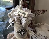 Friendship Ornament - Friend Christmas Ornament - Vintage Spool Ornament - Lace Tree Ornament