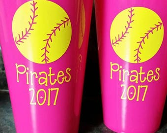 vinyl softball with one name in your choice of color on a plastic 22.8 oz cup.  Makes great gifts.