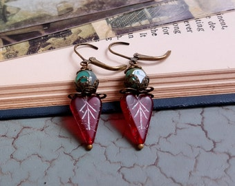 Czech glass earrings heart beads turquoise and red dangle earrings