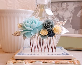 Silver Bridal comb Vintage inspired hair accessory Baby blue Ivory roses Wedding hair comb