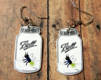 Handcrafted Mason Jar Dangle Earrings With Firefly/Lightning Bug Jewelry