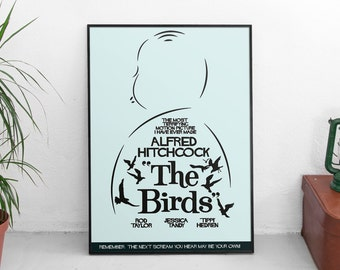 """Alfred Hitchcock """"The birds"""", fine art print, horror movie, giclee playbill, classic hollywood, affiche, minimal, alternative, terrifying"""