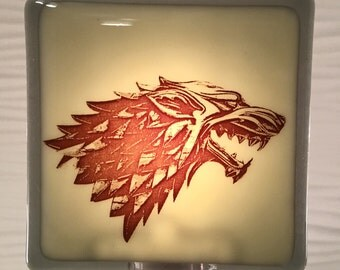 Game of Thrones House of Stark Night Light Fused Glass