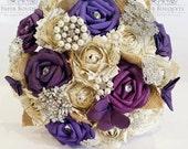 Paper Flower Bouquet origami wedding alternative bridal butterflies purple lilac brooch bouquet vintage