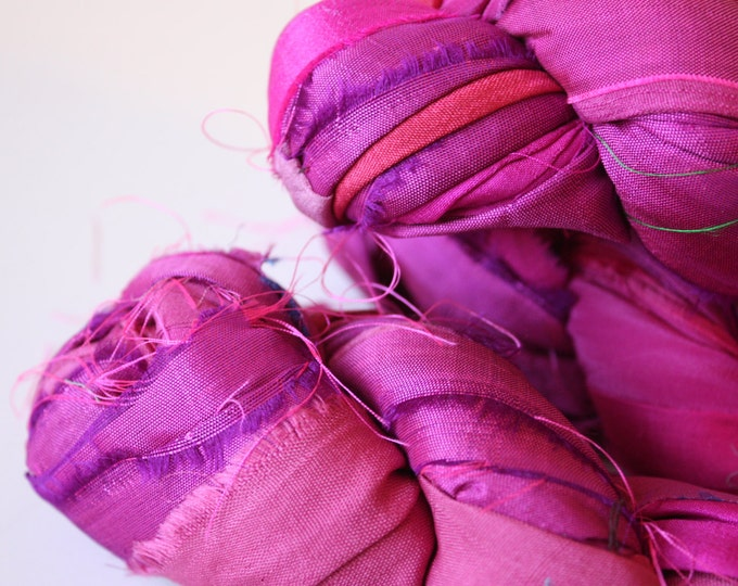 25% off SALE***Recycled Sari Silk Ribbon - Cyclamen shot with Pink
