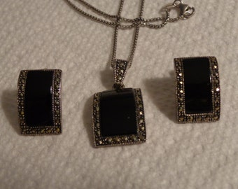 Black Onyx Marcasite and Sterling Silver Necklace & Earring Set-Pierced Ears