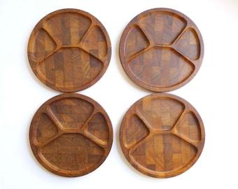 Vintage Teak Digsmed Plates, 1964, Digsmed, Picnic, Made in Denmark, Mid Century, Divided Plates, Staved Teak, Teak Trays, Teak Plates,