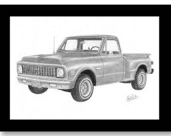 Drawing of a 1972 Chevrolet Pick Up