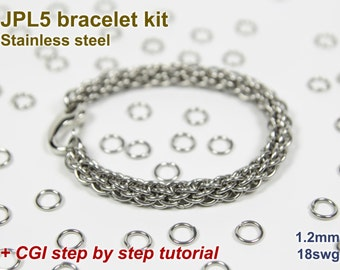 JPL5 Bracelet Kit, Chainmaille Kit, Stainless Steel, Chainmail Kit, Jump Rings, JPL5 Tutorial, Jens Pind Linkage, Chainmaille Tutorial