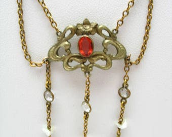 Wonderful Art Nouveau Brass, Glass and Pearl Festoon Necklace