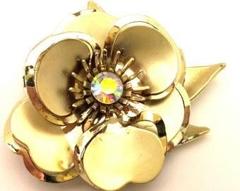 Brooch Vintage Amazing Flower Design Rhinestones Germany Gold Plated