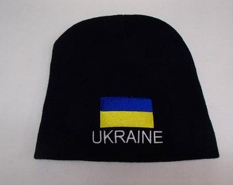 Ukraine Flag on Navy Blue Knit Hat