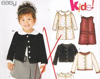 Size 1/2-4 Toddler Girls Easy Skirt & Jacket Sewing Pattern - Girls Pleated Skirt Sewing Pattern - Girls Jacket Pattern - New Look 6228