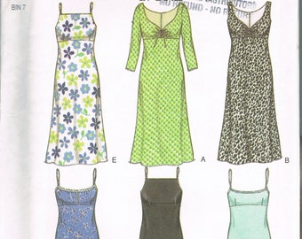 Size 8-18 Misses' Easy Dress Pattern - Empire Waist Gathered Bust Dress - Spaghetti Strap Dress Pattern - Slip Dress -  New Look 6969