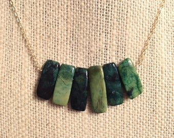 Zuri Necklace — carved agate brickettes; green turquoise oceanic sea mermaid, sculptural minimalist nashville