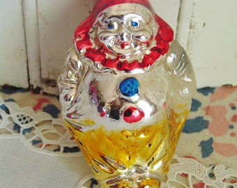 Vintage Figural Mercury Blown Glass Clown Christmas Ornament West Germany