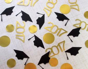 Graduation Party Decoration, 2017 Confetti, Graduation Confetti, Grad Cap, Gold Foil Circle Confetti, 80 Ct., Ships in 2-3 Business Days