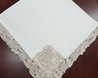 Antique Pointe de Venise Linen Napkins Set 6  #6