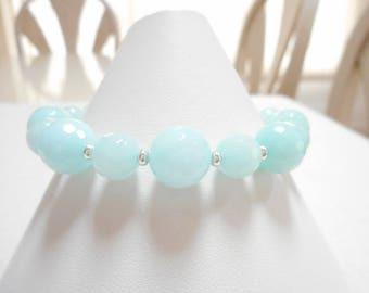 Amazonite Bracelet, Blue Stone Beaded Bracelet, Amazonite Gemstone Jewelry, Faceted Light Blue Stone Bead Bracelet, Jewelry Gift for Her