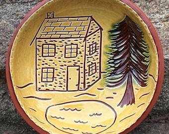 House and Tree Bowl - Pennsylvania German Redware Sgraffito SG526