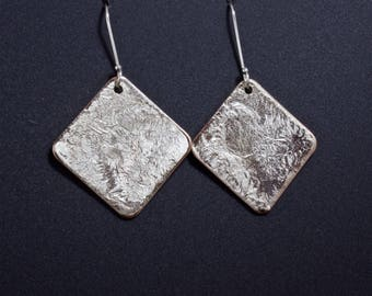 Organic Sterling Silver and Copper Square Shape Dangle Earrings - Liquid Silver