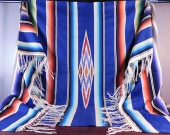 "1930's/1940's Mexican Serape Saltillo Woven Blanket 87"" x 49"""