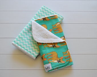 Burp Cloth Set of 2- Cotton- Frenchies and Mint Chevrons