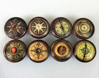 Set of 8 Vintage Compass Cabinet Knobs