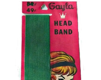 Vintage Green Head Band GAYLA 1950s Hair Band ROCKABILLY Hairdo 60s Mod HeadBand Christmas Hairband Mid Century Hair & Beauty Salon EPHEMERA