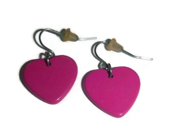 80s Pink Heart Earrings Vintage New Wave Fuchsia Hearts 1980s Dangle New Romantic Valley Girl Madonna Costume Jewelry Valentines Day Gift