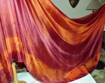Silk Bellydance Veil Belly Dance Veil Rust, Orange Tie Dye Silk Veil