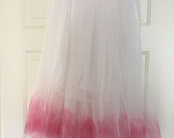 Ombre pink and white tulle tutu skirt size one size regular