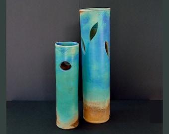 Tall vase, blue vase, very tall vase, large vase, blue vases, stoneware, ikebana