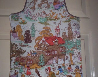 Vintage child's apron 1950s ? Old Woman who Lived in a Shoe nursery rhyme