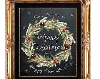 christmas printable, christmas print, printable christmas sign, holiday print, merry Christmas print, chalkboard christmas, 8x10, 5x7,