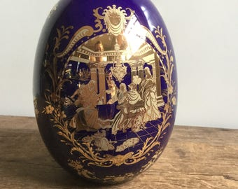 Large Gilded Gold and Cobalt Procelain Egg French Rocco Style Faberge Replica