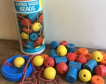 PlaySkool Jumbo Wood Bead Set 70s Vintage Toy