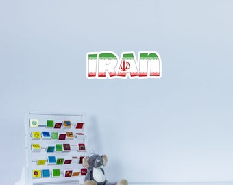 National Flag Country Name of Iran Vinyl Wall Art