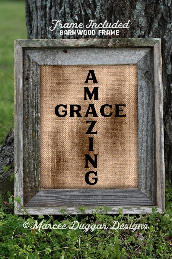 Framed Religious Gift | Amazing Grace | Burlap Print | Song | Christian | Gift For Mom | 0239