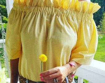 Small only Women's top the Derby top in yellow mini gingham off the shoulder top custom made by Collyn Raye