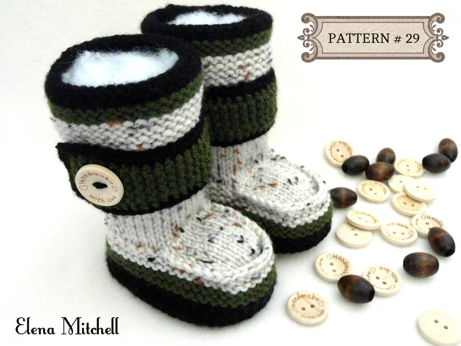 Knitting Patterns For Toddlers Boots : Knitting PATTERN Baby Booties Baby Shoes Knitted Baby Uggs