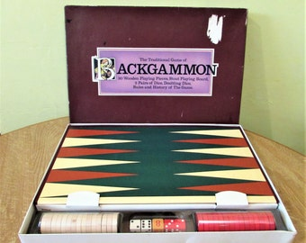Vintage Backgammon Board Game Set 1970's - 100% Complete - Traditional Board Game With Wooden Pieces.