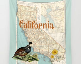 California State map Fleece Blanket throw - cozy, sofa, couch, bed, travel decor, soft,  winter, warm, Quail, poppy, beach blanket
