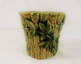 Vintage Asian Bamboo Planter African Violet Lucky Bamboo Mid Century Asian Home Decor