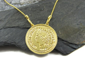 Coin Necklace, Engraved Charm Necklace, Coin Jewelry, Gold Coin Pendant, Plate Gold Necklace, Gold Coin Charm, Unique Necklace, History Coin