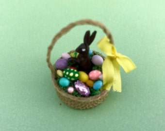 Cute Little Easter Basket w Chocolate Bunny